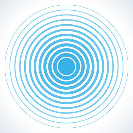 Radarscherm concentrische cirkel elementen. Vector illustratie voor geluidsgolf. Witte en blauwe kleur ring. Cirkel draai doel. Radiozender signaal. Center minimale radiale rimpel lijn overzicht abstractie Stock Illustratie