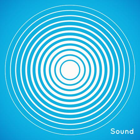 レーダー画面の同心円の要素。サウンド ウェーブのベクトル図です。白と青のカラーリング。サークル スピン ターゲット。駅の無線信号。センタ
