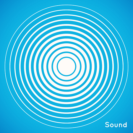 color ring: Radar screen concentric circle elements. Vector illustration for sound wave. White and blue color ring. Circle spin target. Radio station signal. Center minimal radial ripple line outline abstraction