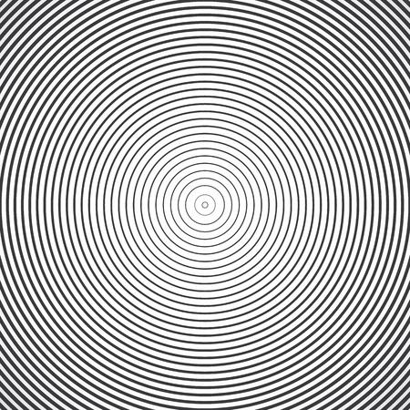 éléments de cercle concentriques. Vector illustration d'onde sonore. anneau de couleur noir et blanc. Cercle cible de spin. signal de la station de radio. Centre minimale ligne d'ondulation radiale contour abstractionnisme