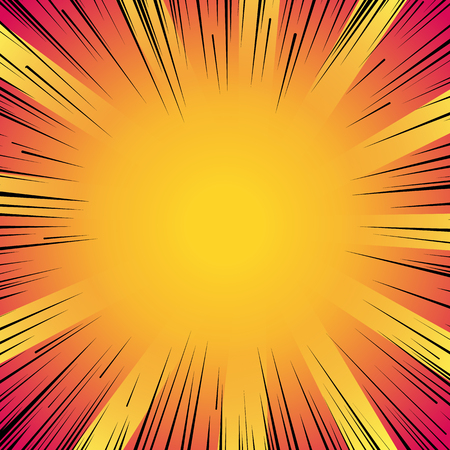 Abstract comic book flash explosion radial lines background. Stock Illustratie