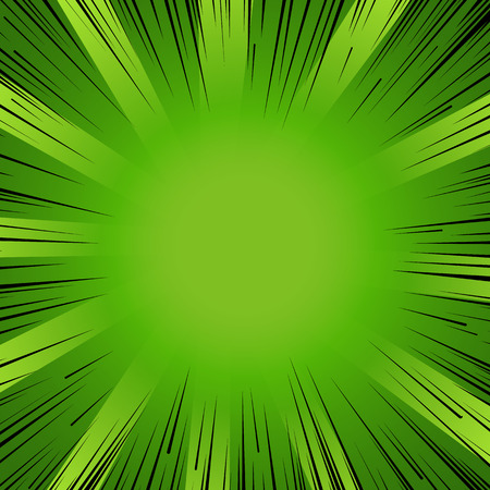 Abstract comic book flash explosion radial lines background. Vector illustration for nature design. Bright black green light strip burst. Flash ray blast glow Manga cartoon hero eco spring print 向量圖像