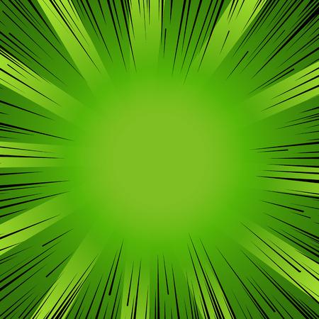 Resumen del libro de flash líneas radiales explosión fondo cómic. Ilustración del vector para el diseño de la naturaleza. verde negro brillante ráfaga tira de la luz. Flash de la explosión de rayos resplandor Manga héroe de dibujos animados de impresión eco de primavera