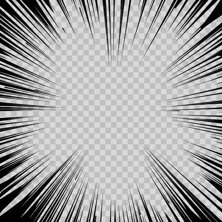 투명 배경에 추상 만화 플래시 폭발 반경 라인.