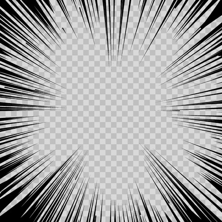 action hero: Abstract comic book flash explosion radial lines on transparent background.