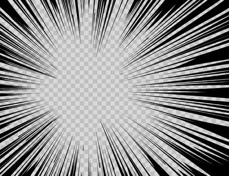 historietas: libro de historietas de flash líneas abstractas explosión radiales sobre fondo transparente.