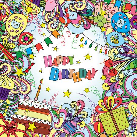 torta compleanno: Buon biglietto di auguri di compleanno su sfondo bianco con elementi di celebrazione.