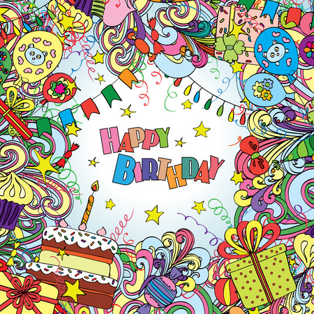 Happy Birthday greeting card on white background with celebration elements.