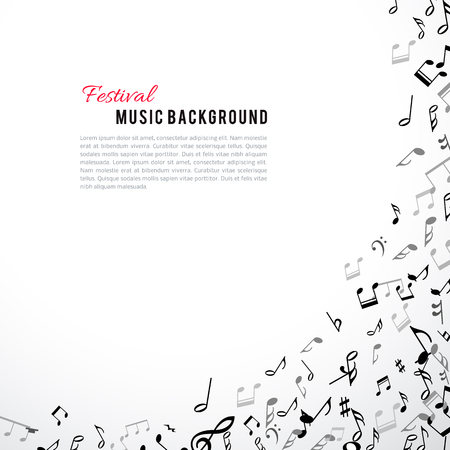 Abstract musical frame and border with black notes on white background. Vector Illustration for music design. Modern pop concept art melody banner. Sound key decoration with music symbol sign.