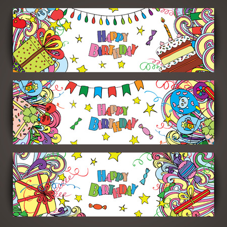 Happy Birthday greeting banners with celebration elements. Fun, bright and original birthday greeting made in the doodle style. Gifts, cakes and candies. Cheerful poster. Vector. Caption web header. Illustration