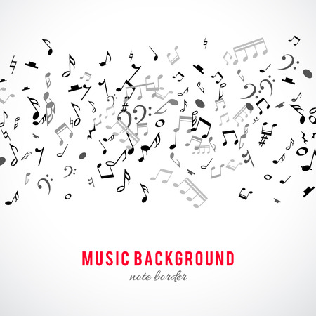 note musicali: Abstract cornice musicale e di confine con le note nere su sfondo bianco. Illustrazione di vettore per il disegno di musica. Moderno concetto di pop art melodia banner. Suono decorazione chiave con segno simbolo musicale.