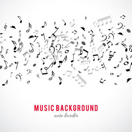 nota musical: marco musical abstracta y la frontera con notas negras sobre fondo blanco. Ilustración del vector para el diseño de la música. Moderno concepto emergente arte bandera melodía. Sonido decoración tecla con el signo de símbolo de la música.