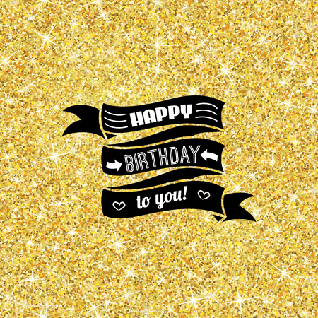 golden shower: Perfect happy birthday template with golden confetti theme. Ideal for Save The Date, baby shower, mothers day, valentines day cards, invitations. Vector illustration for gold shimmer yellow design.