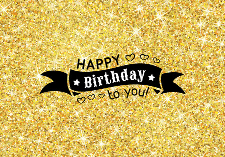 ceremony: Perfect happy birthday template with golden confetti theme. Ideal for Save The Date, baby shower, mothers day, valentines day cards, invitations. Vector illustration for gold shimmer yellow design.