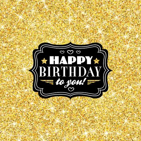 Perfect gelukkige verjaardag sjabloon met gouden confetti thema. Ideaal voor sparen de datum, baby shower, moederdag, Valentijnsdag kaarten, uitnodigingen. Vector illustratie voor goud shimmer geel ontwerp. Stock Illustratie