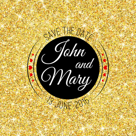 shimmer: Perfect wedding template with golden confetti theme. Ideal for Save The Date, baby shower, mothers day, valentines day, birthday cards, invitations. Vector illustration for gold shimmer yellow design.