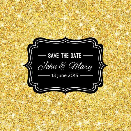 modèle de mariage parfait avec le thème de confettis d'or. Idéal pour gagner la date, baby shower, jour de mères, Saint Valentin, cartes d'anniversaire, invitations. Vector illustration de miroitement d'or conception jaune.
