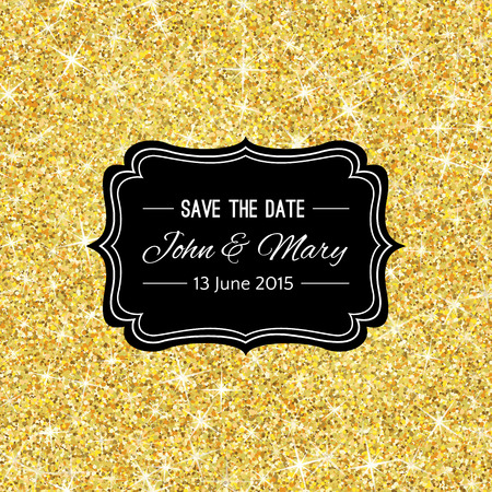 black metallic background: Perfect wedding template with golden confetti theme. Ideal for Save The Date, baby shower, mothers day, valentines day, birthday cards, invitations. Vector illustration for gold shimmer yellow design.