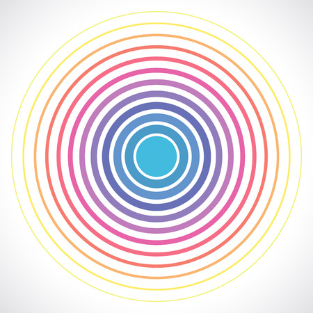 color ring: Concentric circle elements. Vector illustration for sound wave. Different color ring. Circle spin target. Radio station signal. Center minimal radial ripple line outline abstractionism