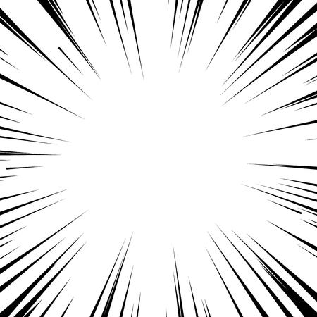 추상 만화 플래시 폭발 방사형 라인 배경입니다. 슈퍼 히어로 디자인에 대 한 벡터 일러스트 레이 션. 밝은 검은 색 흰색 스트립 버스트. 플래시 광선