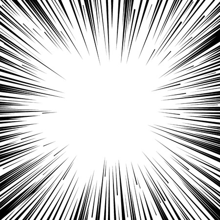추상 만화 플래시 폭발 반경 라인 배경. 슈퍼 히어로 디자인을위한 벡터 일러스트 레이 션. 밝은 검정, 흰색 빛 스트립 버스트. 플래시 레이 폭발 노을.  일러스트
