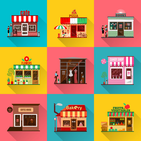 Set of flat shop building facades icons. Vector illustration for local market store house design. Street cafe, small business retail, pizza candy front kiosk, baby boutique fruit food mall concept app
