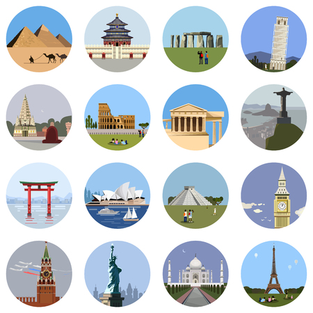 World landmarks flat icon set. Vector travel app web site monument sign. Egypt pyramid, Temple, Stonehenge Colosseum Italy Pantheon sydney theater statue of liberty Taj Mahal eiffel tower Pisa Big Ban Illustration