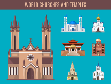 spiritual architecture: Cathedrals, churches and mosques vector building set. Collection of temple building architecture. Religious spiritual ritual activities prayer sacrifice. Islam, buddhist, hindu and christian religion.