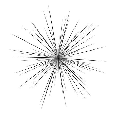 抽象的な漫画フラッシュ爆発ラジアル ライン背景です。スーパー ヒーロー デザインのベクトル図です。明るい黒白く光バースト。フラッシュ光線