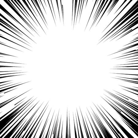 Abstract comic book flash explosion radial lines background. Vector illustration for superhero design. Bright black white light strip burst. Flash ray blast glow. Manga cartoon hero fight print stamp