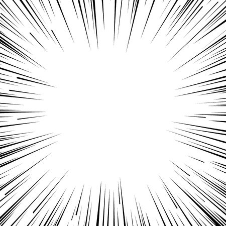 Abstrakt Comic-Flash-Explosion radialen Linien Hintergrund. Vektor-Illustration für Superhelden-Design. Helle schwarz weißes Licht Streifen platzen. Flash-ray Explosion glühen. Manga Comic-Held Kampf Druck Stempel
