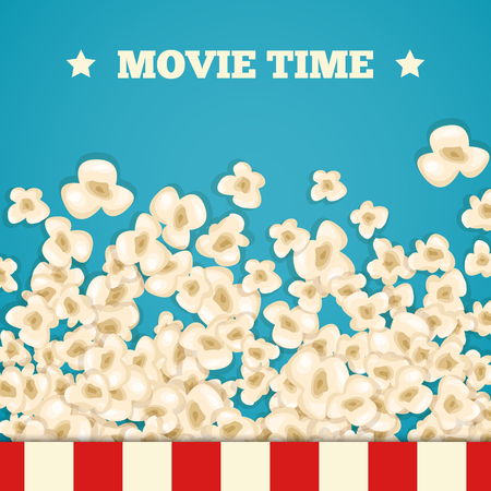 movie theater: Heap popcorn for movie lies on blue background. Vector illustration for cinema design. Pop corn food pile isolated. Border and frame for film poster flyer. Delicious theater sweet or salted snack.