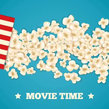 illustration isolated: Heap popcorn for movie lies on blue background. Vector illustration for cinema design. Pop corn food pile isolated. Border and frame for film poster flyer. Delicious theater sweet or salted snack.