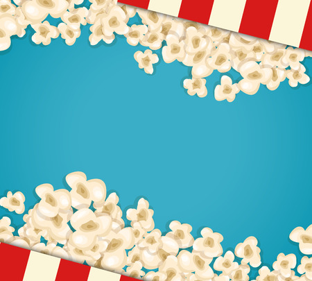 fresh pop corn: Heap popcorn for movie lies on blue background. Vector illustration for cinema design. Pop corn food pile isolated. Border and frame for film poster flyer. Delicious theater sweet or salted snack.