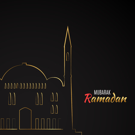 arabic architecture: Single flat icon of Mosque isolated on black background. Logo of islamic holy building. Ramadan Kareem pattern. Traditional arabic architecture. Asian construction. Symbol of east. Vector illustration