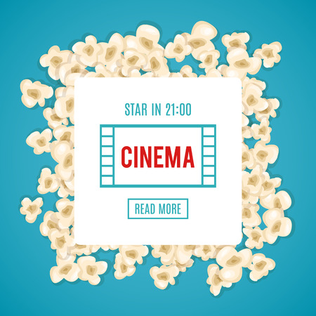 art show: Heap popcorn for movie lies on blue background. Vector illustration for cinema design. Pop corn food pile isolated. Border and frame for film poster flyer. Delicious theater sweet or salted snack.