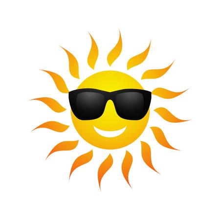 Nette gelbe Sonne Symbol in den Sonnenbrillen auf weißem Hintergrund. Vektor-Illustration für Sommer-Design. Cartoon glücklich sonnigen Symbol Kunst. Heißer Frühling Ausdruck. Fun Sonnenlicht Charakter.
