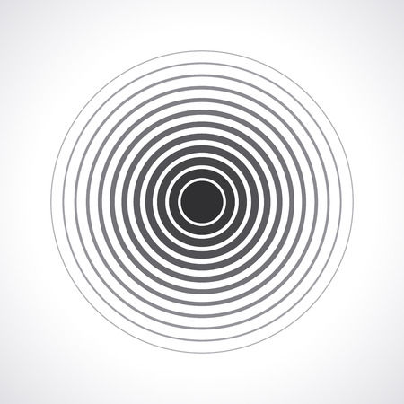ripple effect: Concentric circle elements. Vector illustration for sound wave. Black and white color ring. Circle spin target. Radio station signal. Center minimal radial ripple line outline abstractionism Illustration