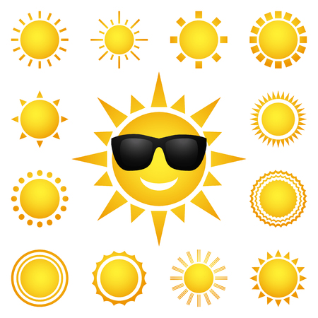 fun day: Vector set of different suns isolated on white background. Collection yellow sunny character. Hot summer design elements. Sunrise and sunset. Bright nature. Weather collection. Vector illustration Illustration