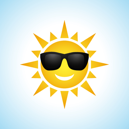 fun in the sun: Cute yellow sun symbol in sunglasses isolated on white background. Vector illustration for summer design. Cartoon happy sunny icon art. Hot spring expression. Fun sunlight character.