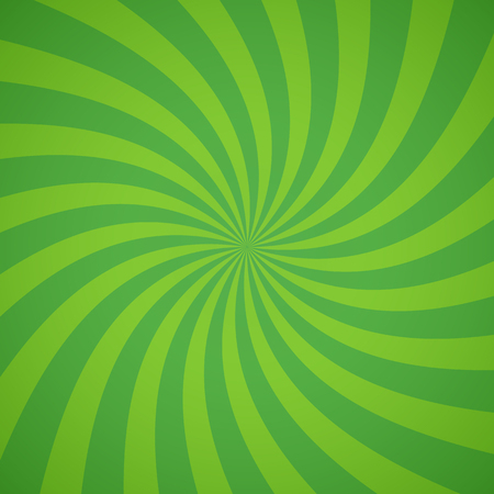 swirl background: Swirling radial pattern background. Vector illustration for ecology circus design. Vortex starburst spiral twirl square. Helix rotation rays. Converging green scalable stripes. Fun sun light beams.