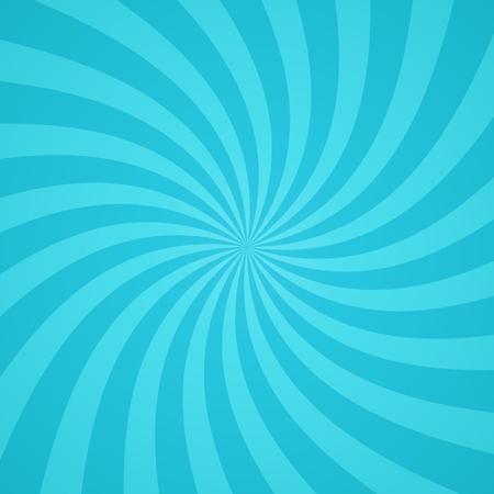 De remolino de fondo patrón radial. Ilustración del vector para el diseño lindo cielo circo. Vortex Starburst cuadrados giro en espiral. Helix rotación de los rayos. La convergencia de las rayas azules escalables. haces de luz de sol divertidas.