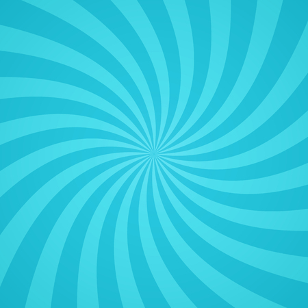 Swirling radial pattern background. Vector illustration for cute sky circus design. Vortex starburst spiral twirl square. Helix rotation rays. Converging blue scalable stripes. Fun sun light beams. Stok Fotoğraf - 60431066