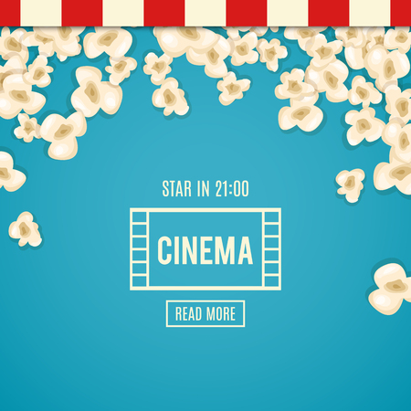 pop corn: Heap popcorn for movie lies on blue background. Vector illustration cinema design. Pop corn food pile isolated. Border and frame film poster flyer. Delicious theater sweet or salted snack.