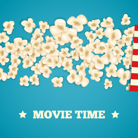 fresh pop corn: Heap popcorn for movie lies on blue background. Vector illustration cinema design. Pop corn food pile isolated. Border and frame film poster flyer. Delicious theater sweet or salted snack.