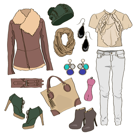 spring coat: Autumn clothes collection for young women and girl. Vector illustration fashion design. Cute pretty hand drawn set isolated on white background. Female casual object accessory. Shoe, hat, bag, jeans