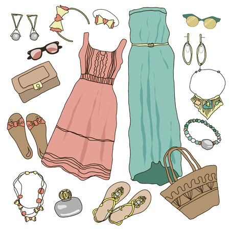 casual dress: Summer clothes collection for young women and girl. Vector illustration fashion design. Cute pretty hand drawn set isolated on white background. Female casual object accessory. Shoe, hat, bag, dress