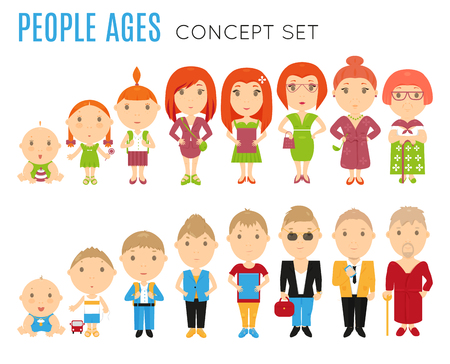 aging process: Set of people age flat icons. Vector life stage illustration. Cartoon human generation. Growing process concept. Baby, child, kid, girl, boy, woman, man. Cycle avatar isolated on white background Illustration