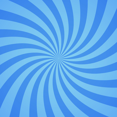 light beams: Swirling radial pattern background. Vector illustration for cute sky circus design. Vortex starburst spiral twirl square. Helix rotation rays. Converging blue scalable stripes. Fun sun light beams.