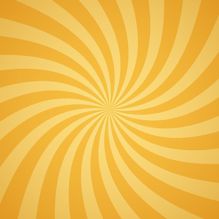 scalable: Swirling radial pattern background. Vector illustration for summer circus design. Vortex starburst spiral twirl square. Helix rotation rays. Converging yellow scalable stripes. Fun sun light beams.